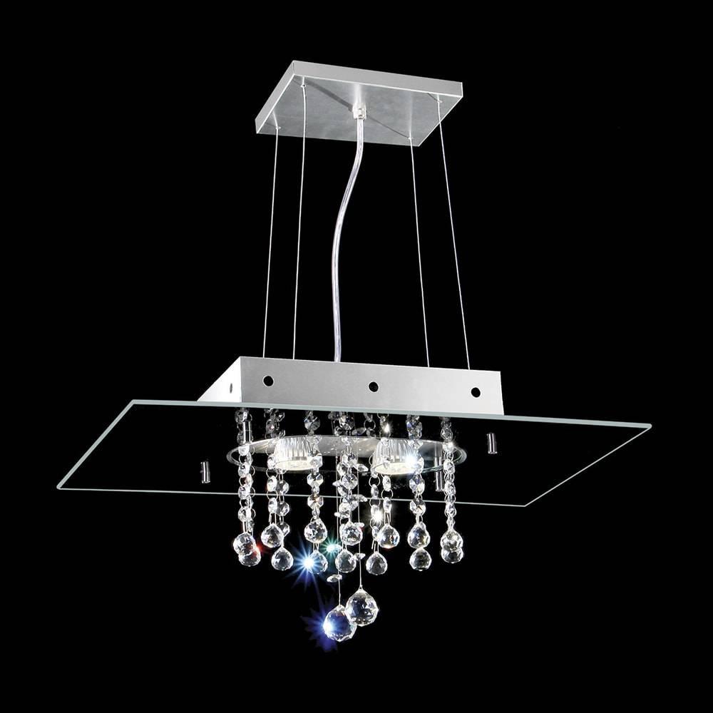 Pendente Valencia Preto - 2 Lâmpadas E27 - Alumínio e Cristais - 95x50 cm