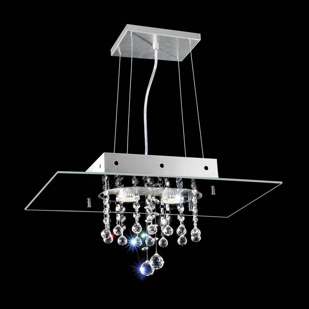 Pendente Valencia Preto - 2 Lâmpadas G9 - em Alumínio e Cristal - 95x50 cm