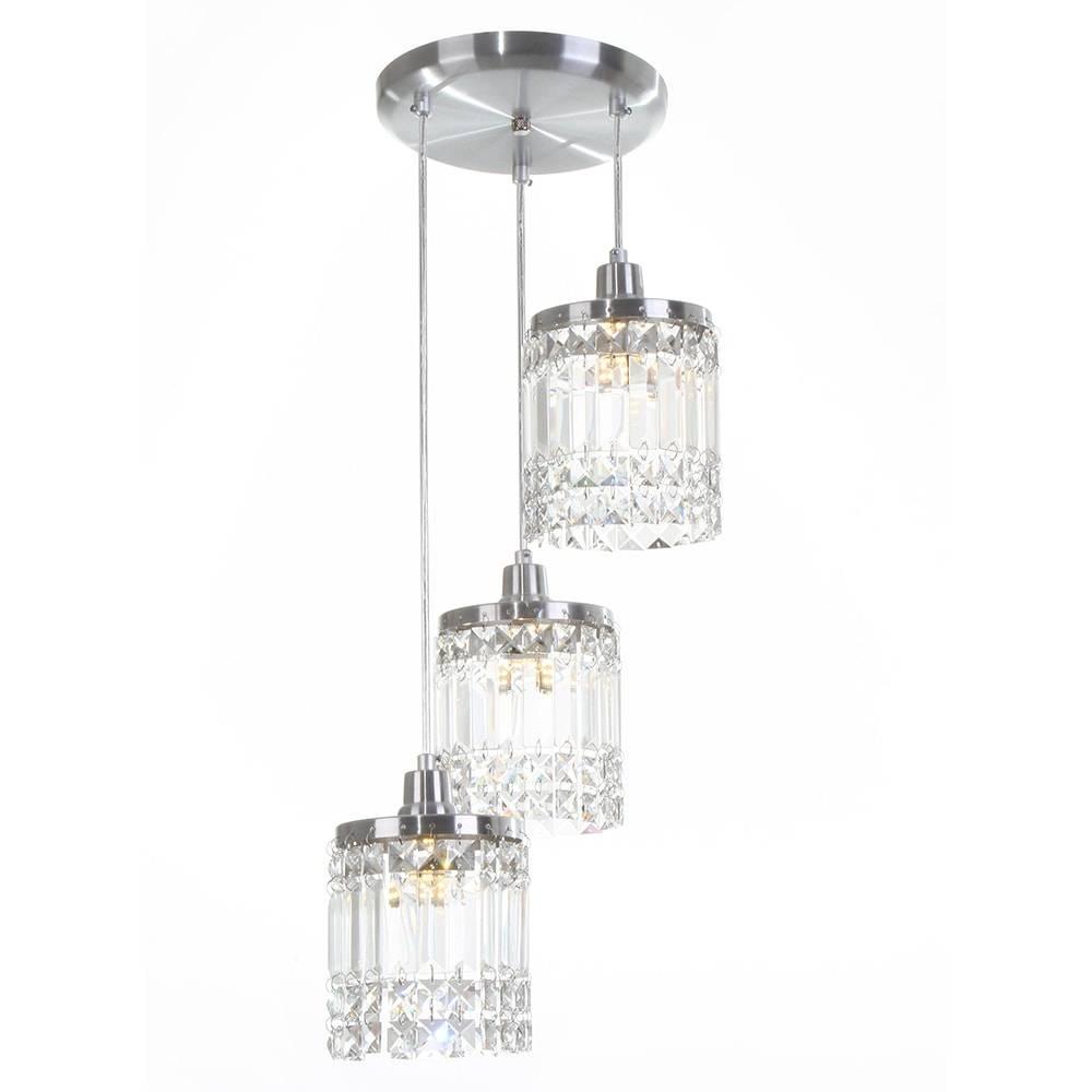 Pendente York - 3 Lâmpadas G9 - em Alumínio Escovado e Cristal Importado - 88x20 cm