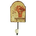 Pendurador com Estampa Vaso de Flores - 1 Gancho - em Metal - 21x22 cm