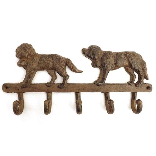 Pendurador / Cabideiro - 2 (Dois) Cachorros - 5 (Cinco) Ganchos - Ferro - 35x16 cm
