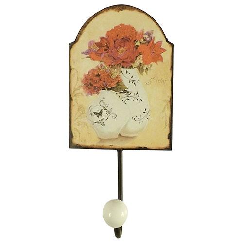 Pendurador Florale - 1 Gancho - em Metal - 21x22 cm