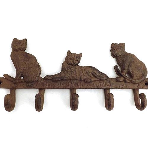 Pendurador / Cabideiro - 3 (Três) Gatos - 5 (Cinco) Ganchos - Ferro - 34x16 cm