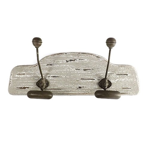 Pendurador / Cabideiro - Oldway - 2 (Dois) Ganchos - Madeira e Metal - 49x16cm