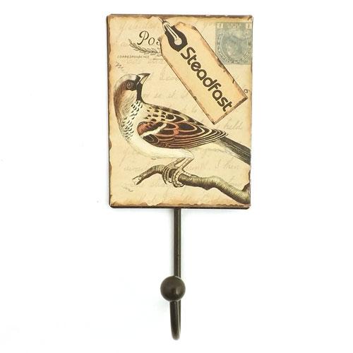 Pendurador / Cabideiro Pássaro Steadfast  - 1 (Um) Gancho - Metal Estampado - 9x20 cm