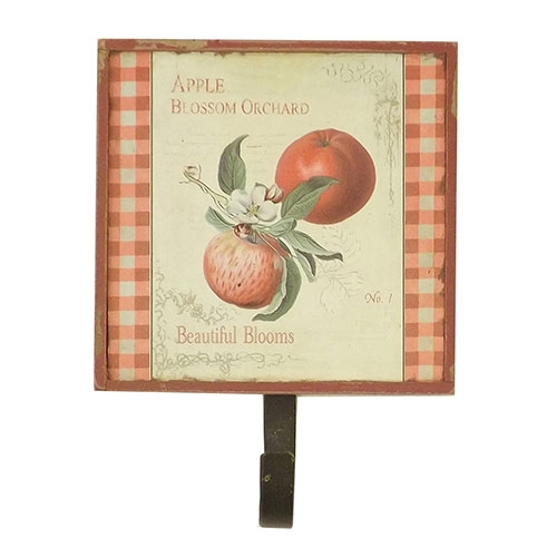 Pendurador / Cabideiro - Tomate e Maçã - 1 (Um) Gancho - Madeira Estampada - 14x13 cm