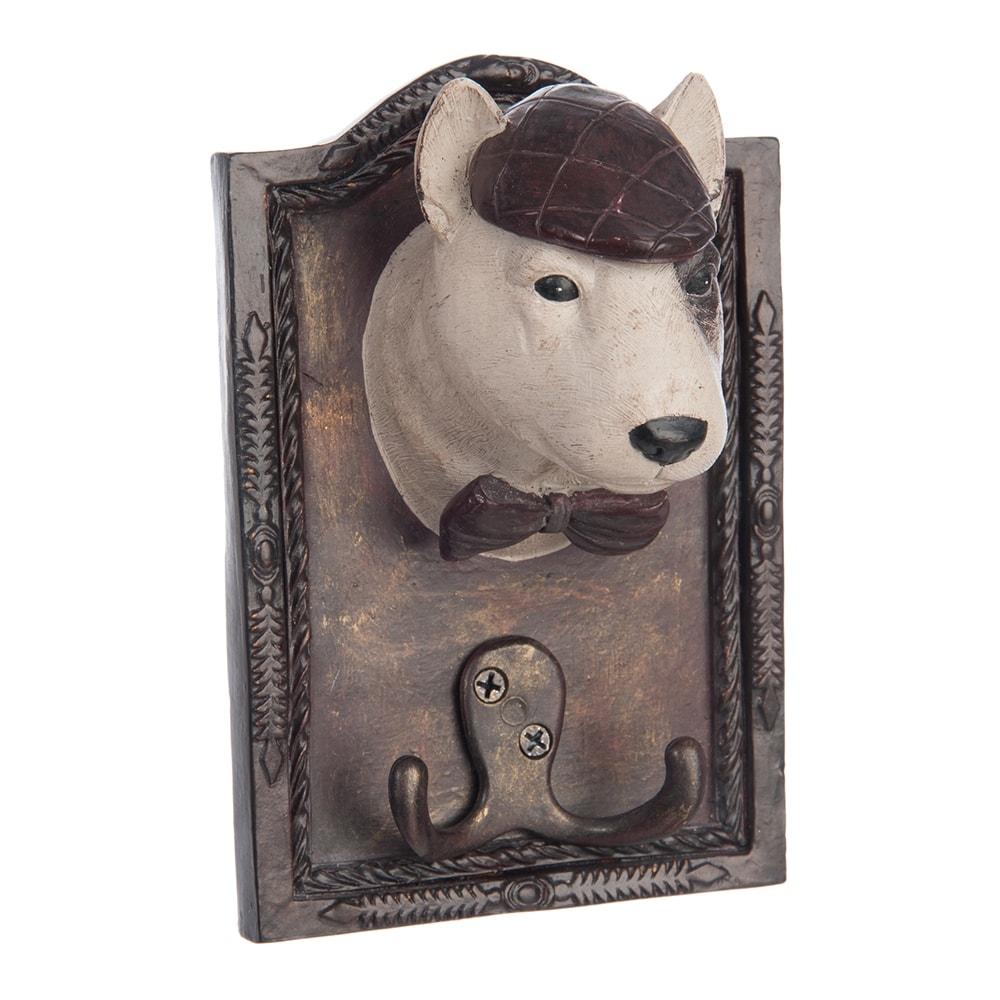 Pendurador Cachorro Sherlock Marrom e Bege em Resina - 18x13 cm