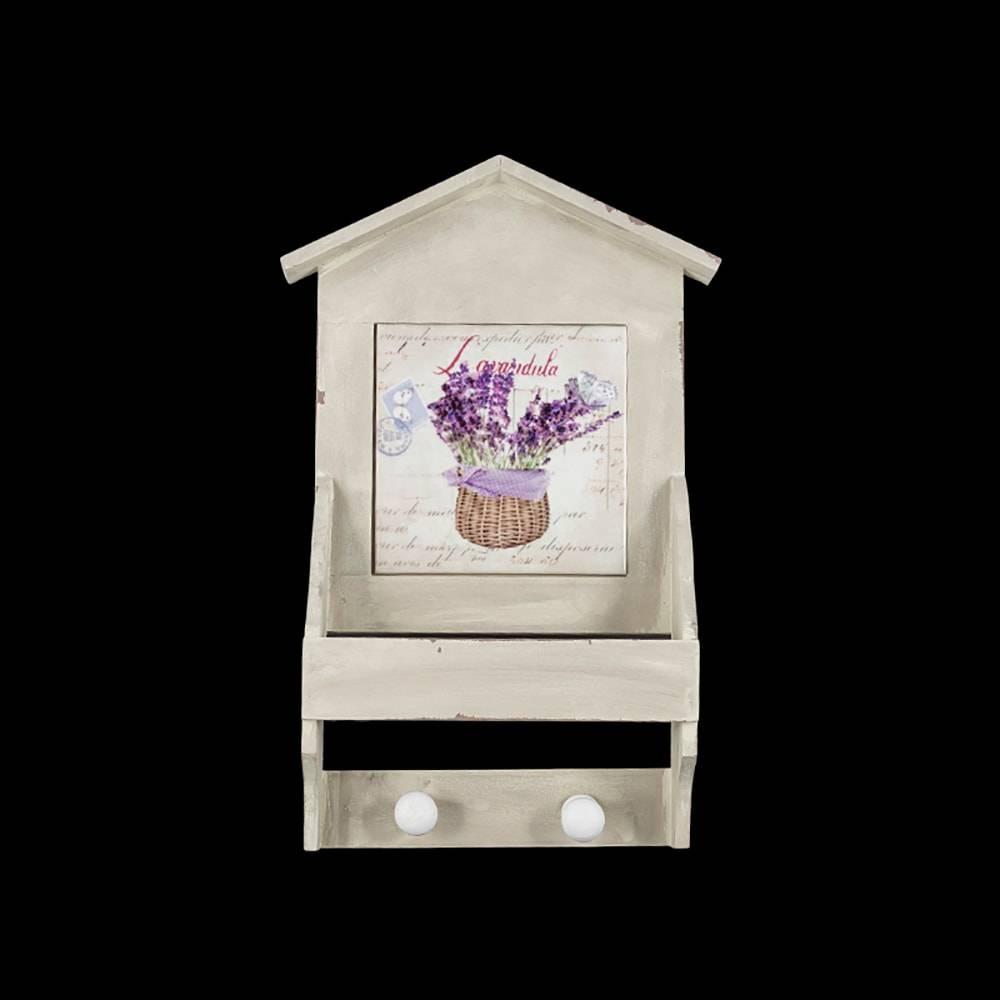 Pendurador Casa Lavanda Branco em Madeira - 30x9 cm