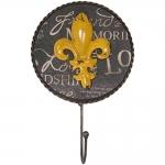 Pendurador Flor de Liz Amarelo - 1 Gancho - Médio em Metal - 26x16 cm