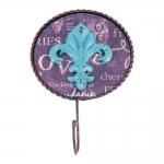 Pendurador Flor de Liz Azul - 1 Gancho - Pequeno em Metal - 7x2 cm