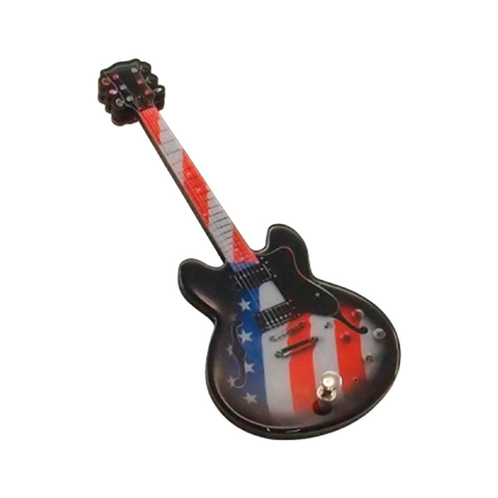 Pendurador Guitarra Bandeira USA em MDF - 25x10 cm