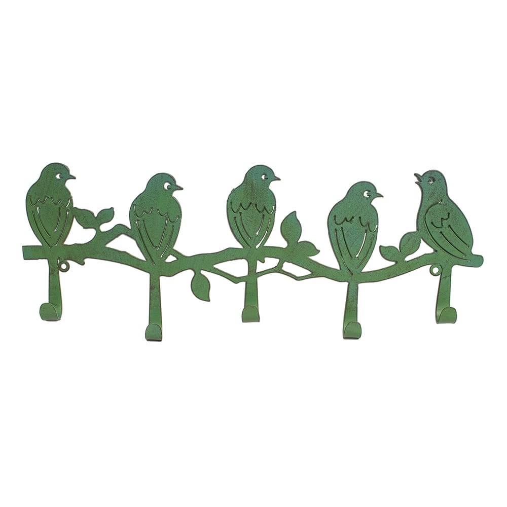Pendurador Pássaros Verde - 5 Ganchos - em Ferro - 51x20 cm