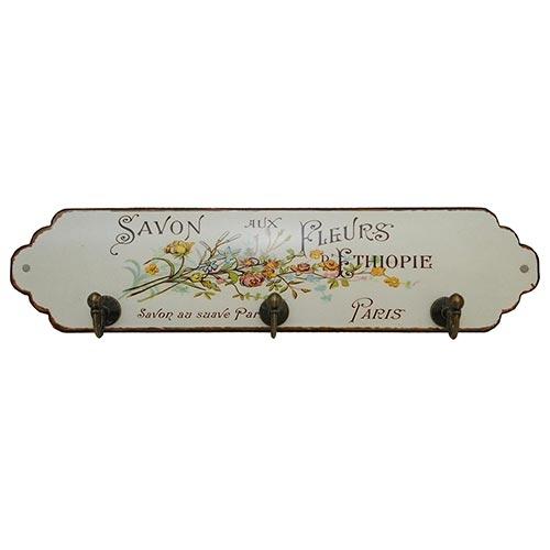 Pendurador Porta Chaves Flores Savon 3 Ganchos Oldway - 28x7 cm