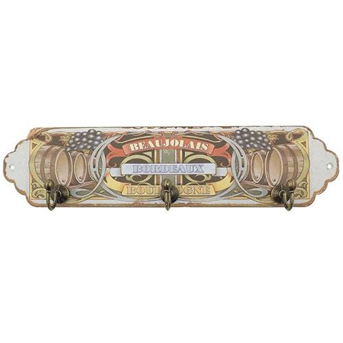Pendurador / Porta Chaves - Grapes Barril - 3 (Três) Ganchos - Metal - 28x7 cm
