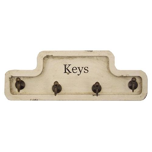Pendurador / Porta Chaves - Keys - 4 (Quatro) Ganchos - Madeira e Metal - 23x9 cm