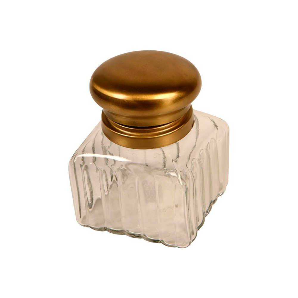 Perfumeiro Accona em Vidro Transparente com Tampa em Metal Bronze - 10x8 cm
