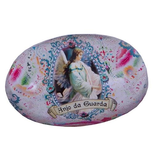 Peso de Papel Anjo da Guarda Oval em Vidro - 9x6 cm