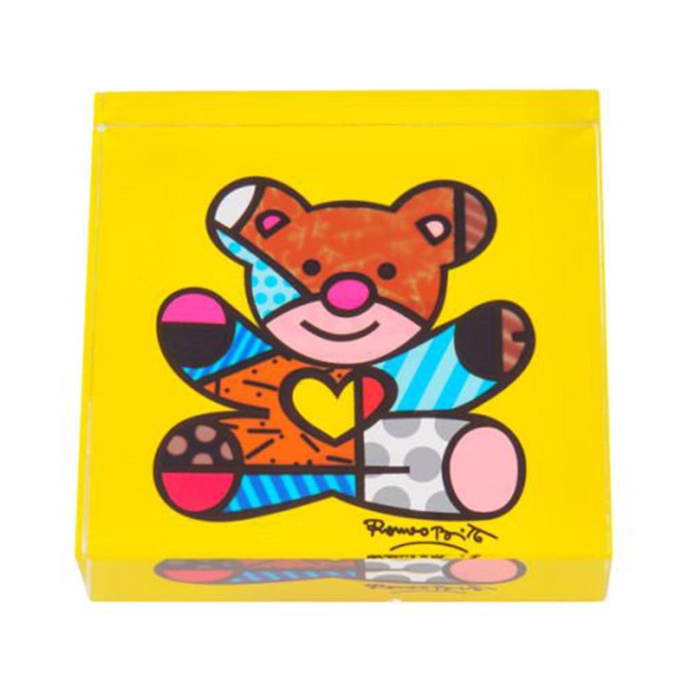 Peso de Papel Bear Amarelo - Romero Britto - em Vidro - 8x2 cm
