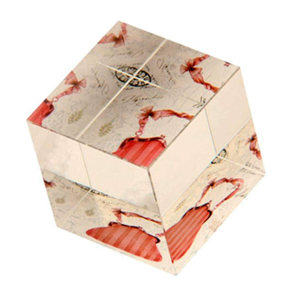 Peso para Papel Bolsa Listrada com Fundo Branco em Vidro - 7x6 cm