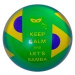 Peso de Papel Brasil Keep Calm And Lets Samba Verde em Vidro - 4x8 cm