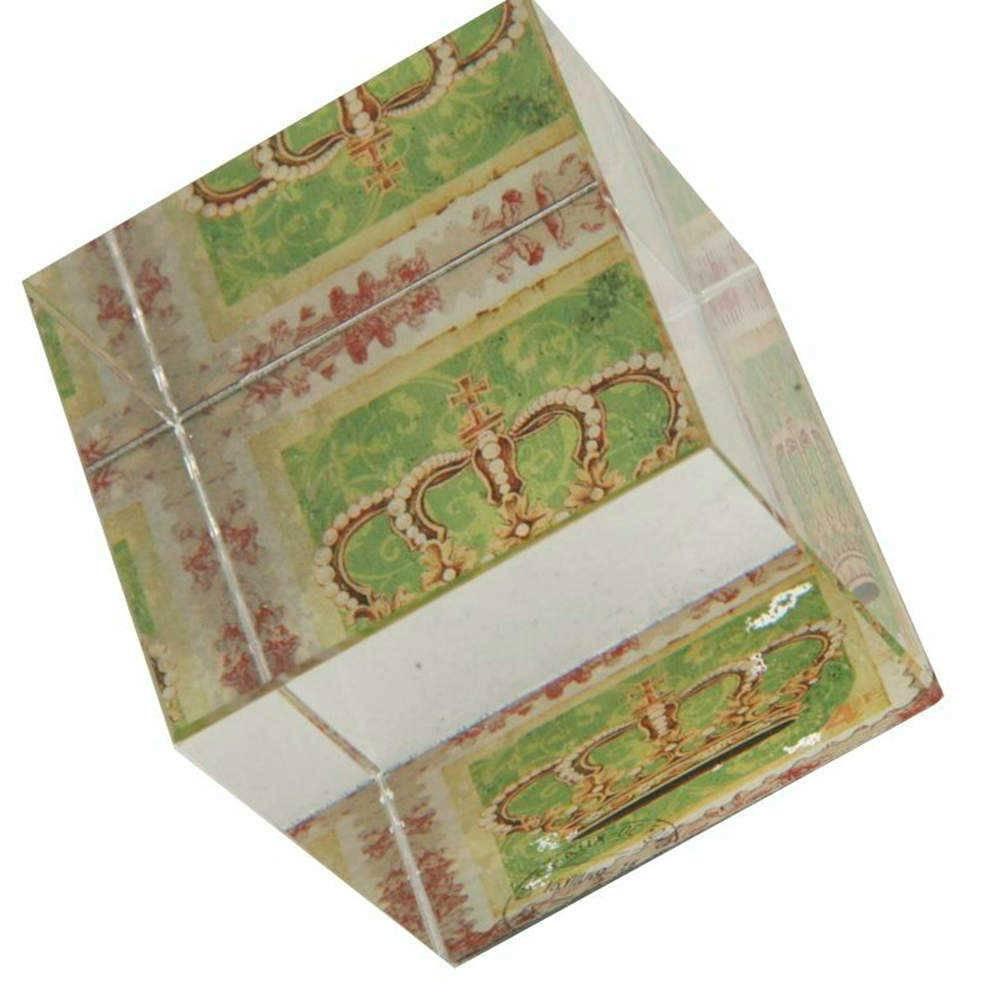 Peso para Papel Coroa com Fundo Verde em Vidro - 6x5 cm