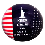 Peso de Papel Estados Unidos Keep Calm And Lets Shopping em Vidro - 8x4 cm