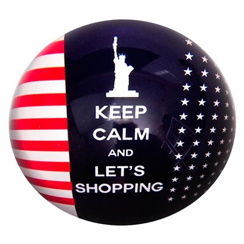 Peso de Papel Estados Unidos Keep Calm And Lets Shopping em Vidro - 8x4 cm