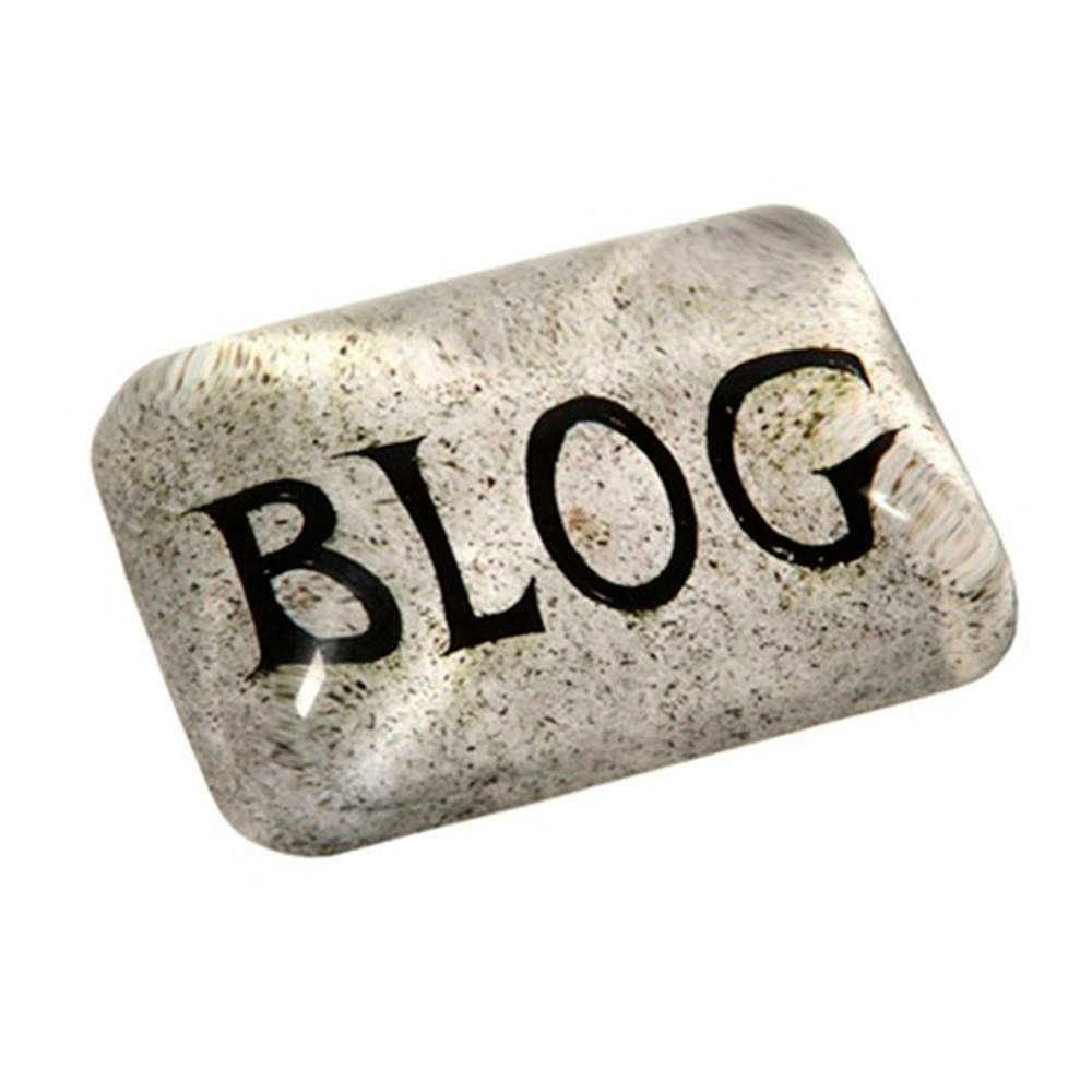 Peso para Papel Estampa Blog Branco e Preto em Vidro - 9x7 cm