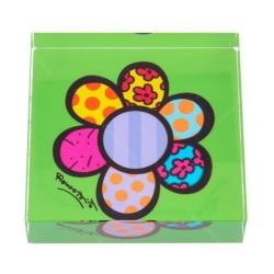 Peso de Papel Flor Verde - Romero Britto - em Vidro