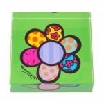 Peso de Papel Flor Verde - Romero Britto - em Vidro - 8x2 cm