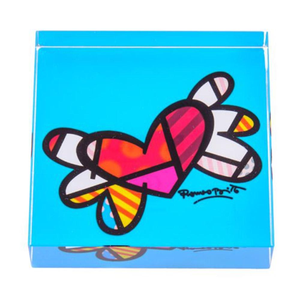 Peso de Papel Flying Heart Azul - Romero Britto - em Vidro - 8x2 cm