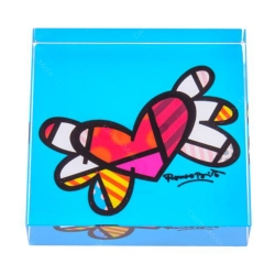 Peso de Papel Flying Heart Azul - Romero Britto - em Vidro