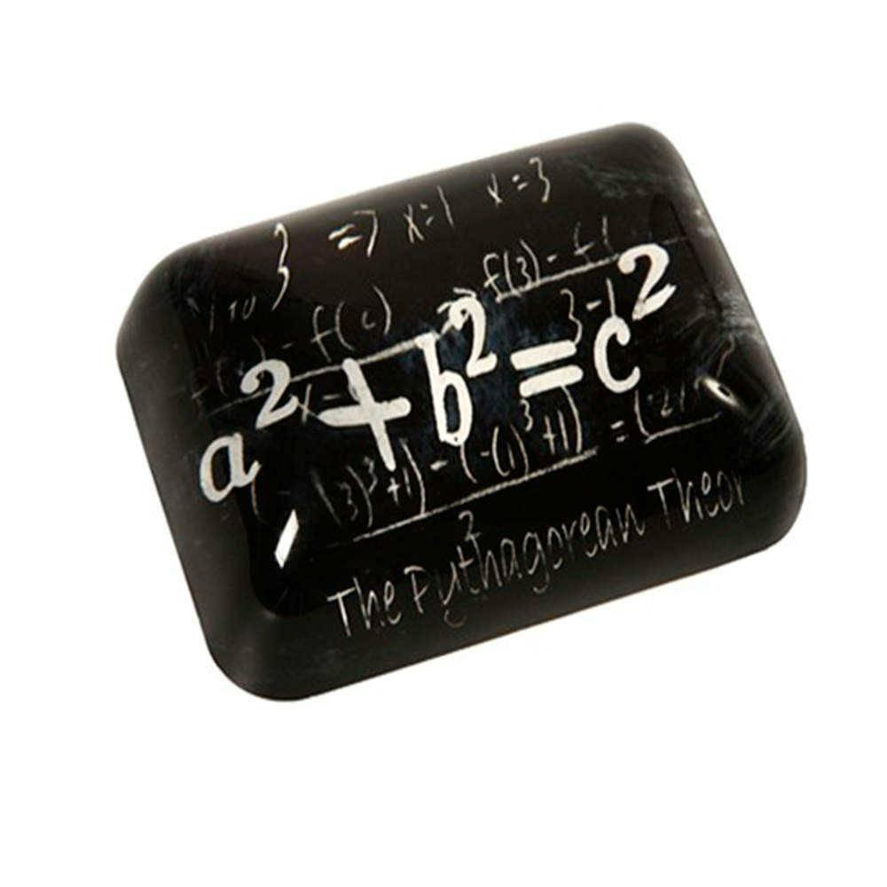 Peso para Papel Fórmula Matemática Preto e Branco em Vidro - 9x7 cm