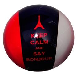 Peso de Papel França Keep Calm And Say Bonjour em Vidro