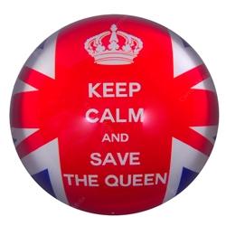 Peso de Papel Inglaterra Save The Queen Vermelho em Vidro