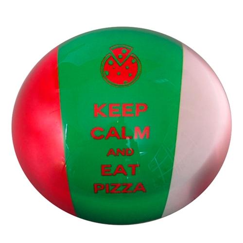 Peso de Papel Itália Keep Calm And Eat Pizza em Vidro - 8x4 cm