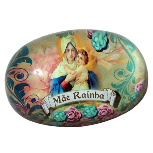 Peso de Papel Mãe Rainha Oval em Vidro - 9x6 cm