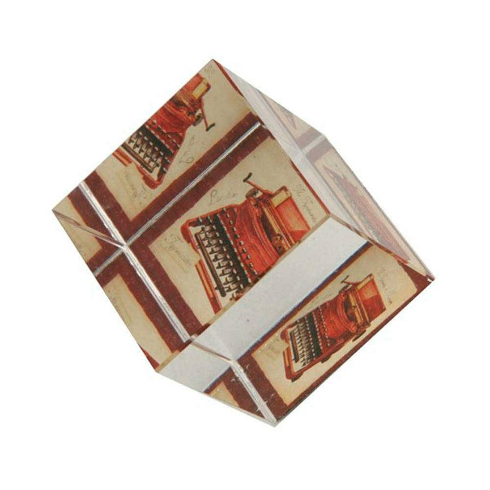 Peso para Papel Máquina de Escrever Marrom e Branco em Vidro - 6x5 cm