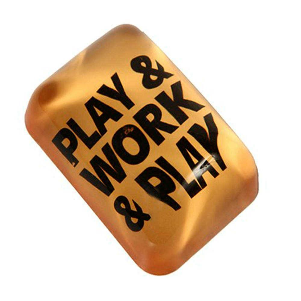 Peso para Papel Play And Work Amarelo e Preto em Vidro - 16x11 cm