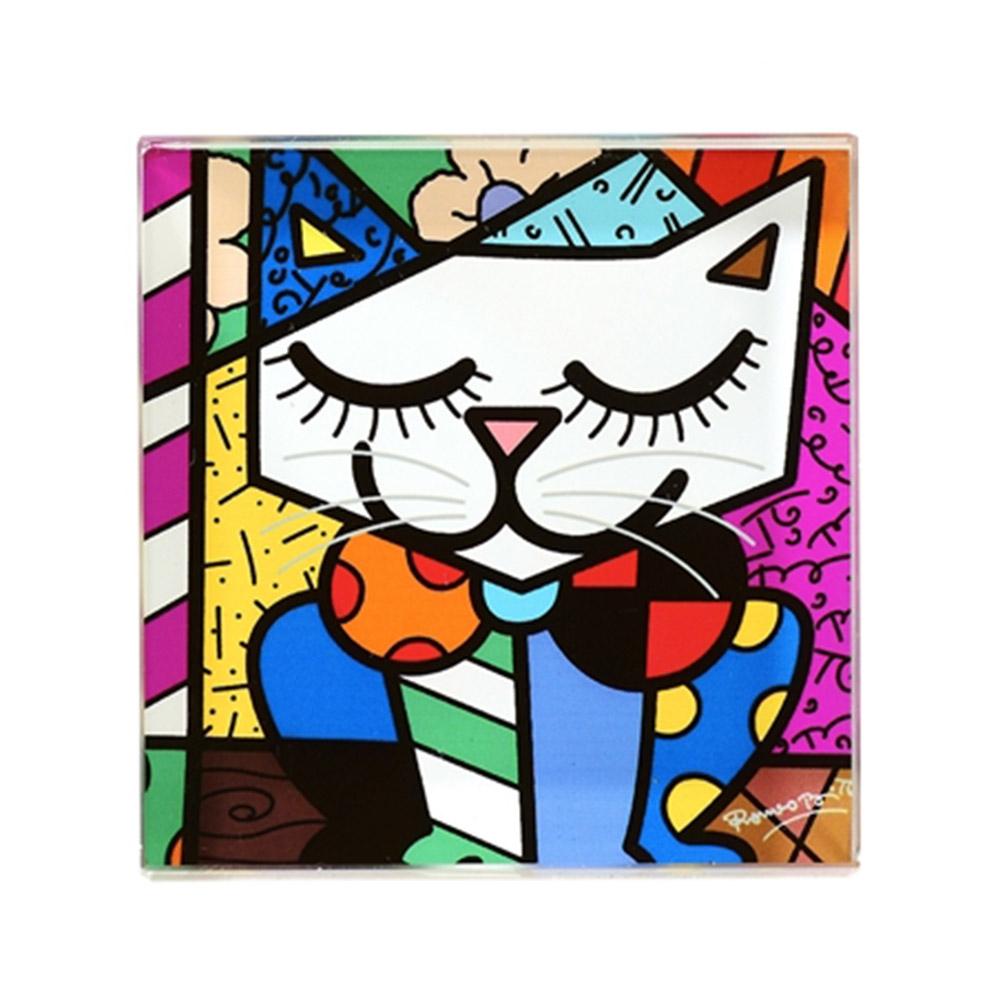 Peso de Papel Quadrado - Gato Colorido em Vidro - Romero Britto - 8x8 cm