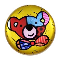 Peso Papel Redondo Urso - Romero Britto - em Vidro - 8x4 cm