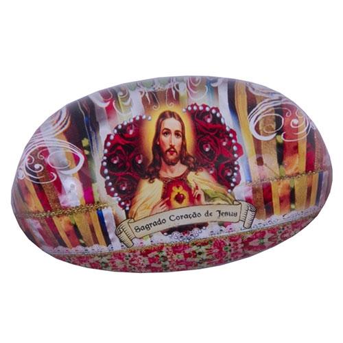 Peso de Papel Sagrado Coração de Jesus Vermelho em Vidro - 9x6 cm