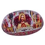 Peso de Papel Sagrado Coração de Jesus Vermelho em Vidro