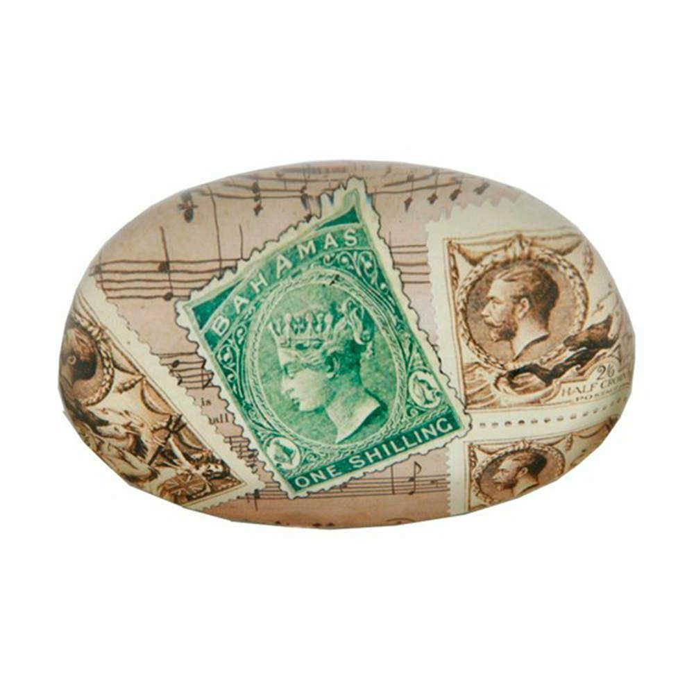 Peso para Papel Selos Oval Bege em Vidro - 16x11 cm