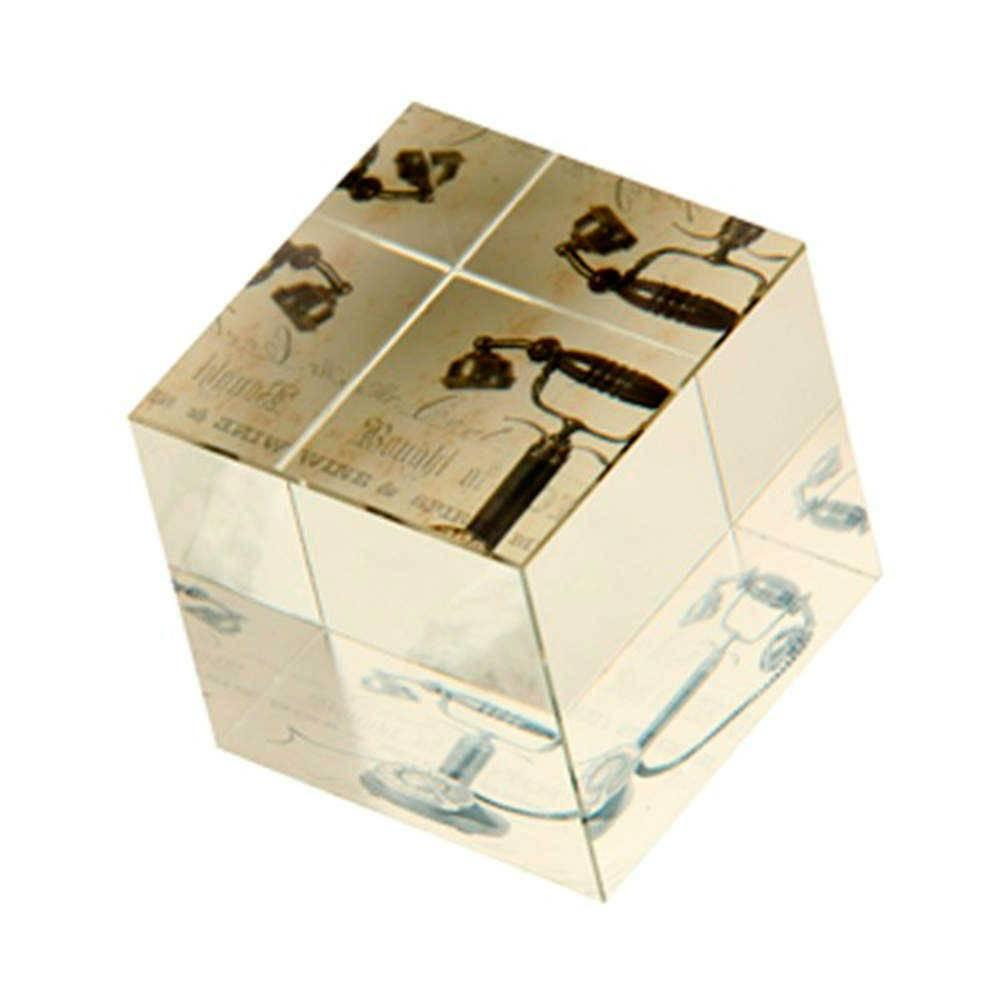 Peso para Papel Telefone Antigo Preto em Vidro - 7x6 cm