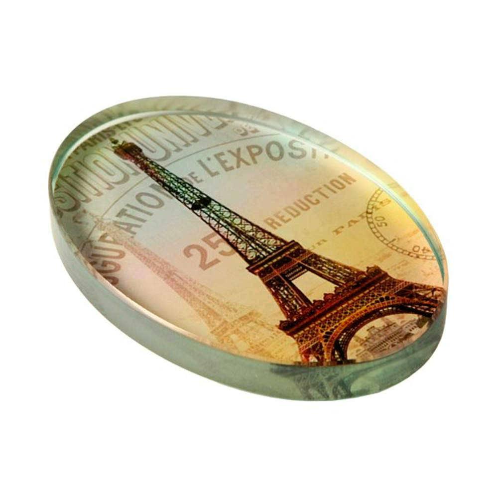 Peso para Papel Torre Eiffel com Fundo Branco em Vidro - 16x13 cm