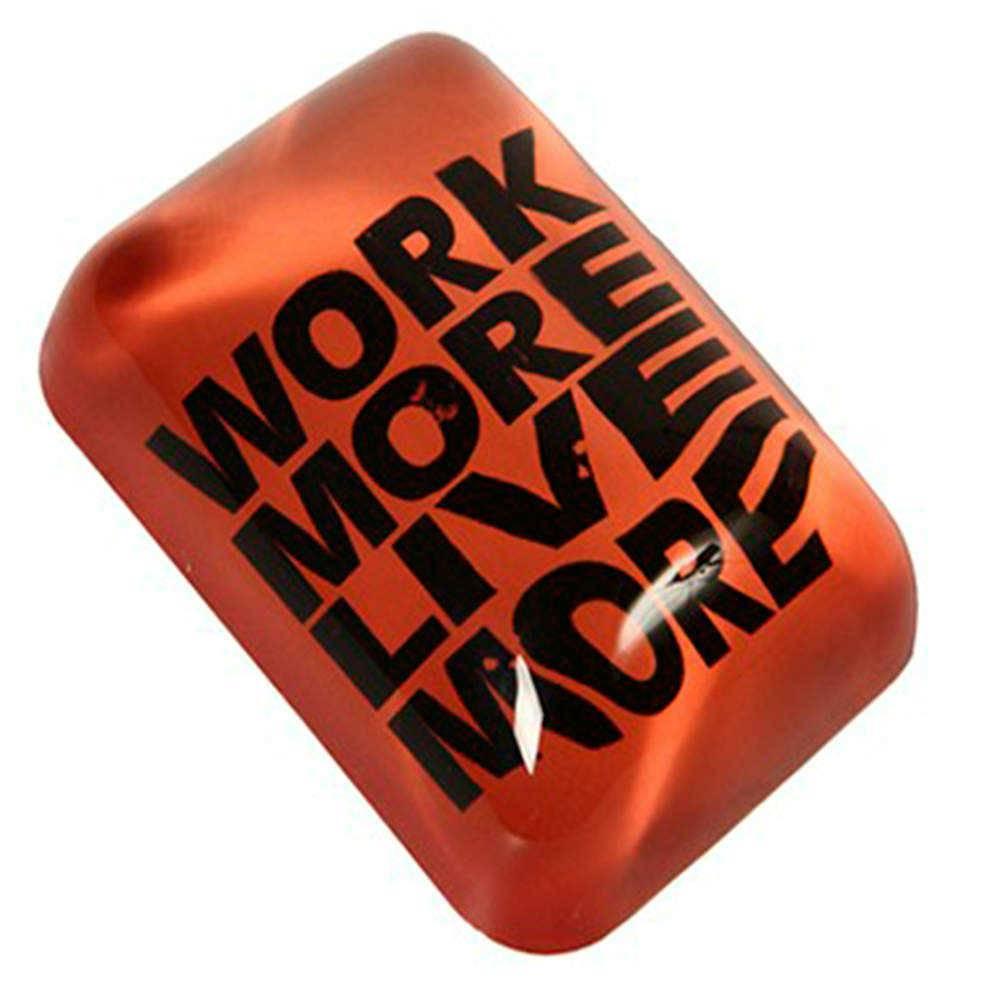 Peso para Papel Trabalhe Mais Laranja e Preto em Vidro - 16x11 cm