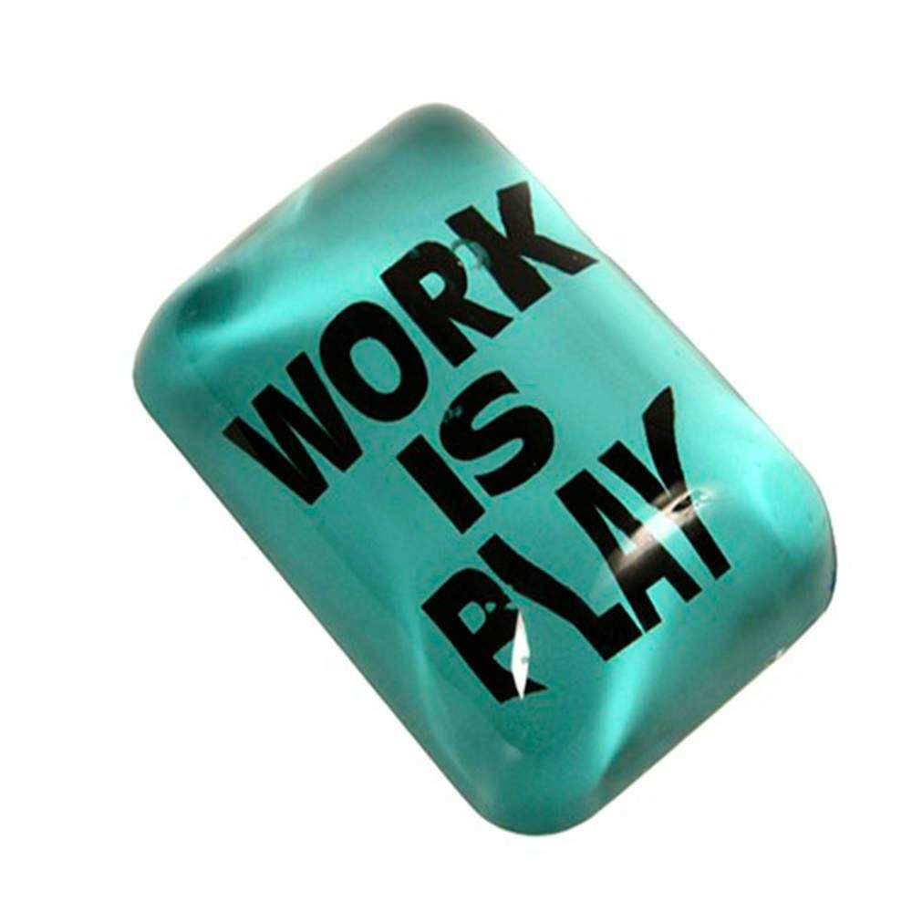 Peso para Papel Work Is Play Verde e Preto em Vidro - 9x7 cm