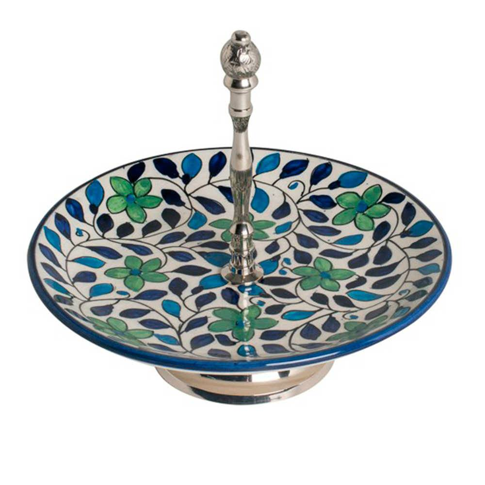 Petisqueira Form Arredondada em Cerâmica e Aço Inox - 25x25 cm