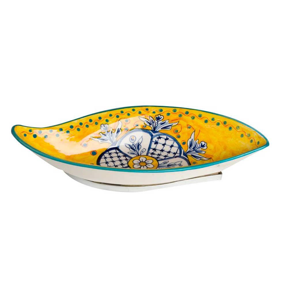 Petisqueira Fragose Amarela e Azul Grande em Cerâmica - 41x18 cm